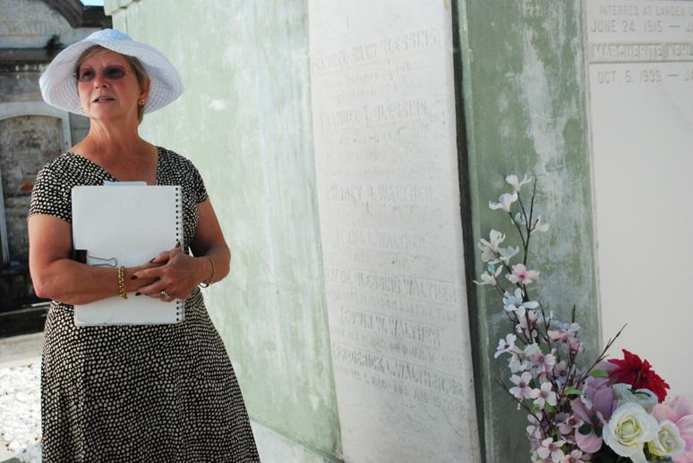 Earlyn Pickering Jaster tends her family's tomb.