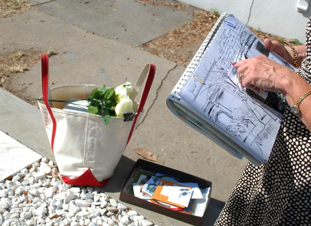 Jaster sketches her family's tomb at Lafayette Cemetery Number 1.