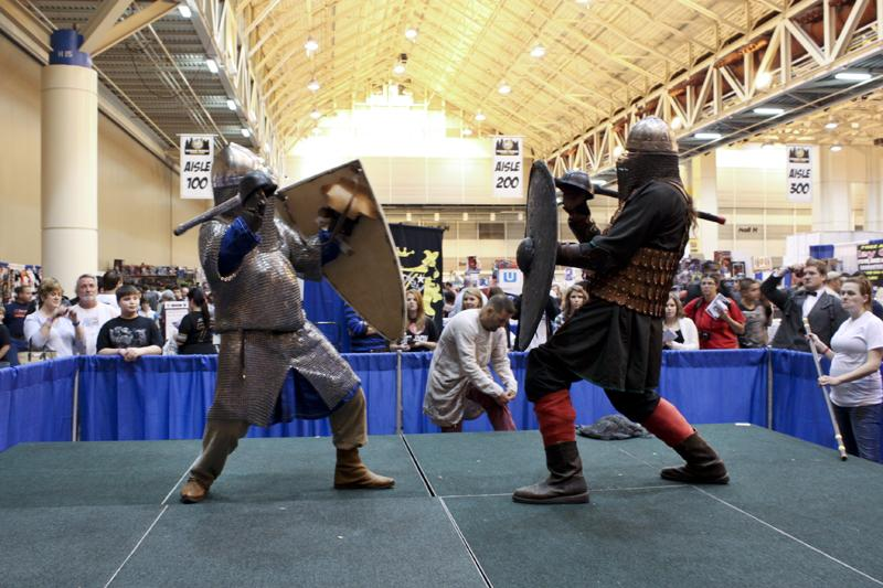 A demonstration by the Society for Creative Anachronism, a group that recreates the armor, dress and fighting techniques of the Middle Ages.