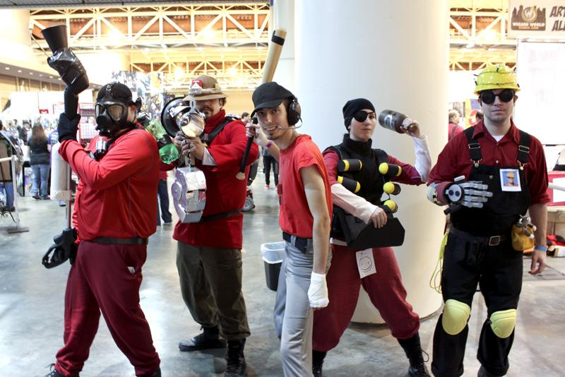 Engineer, Demo Man, Scout, Solider and Pyro. From the game Team Fortress.