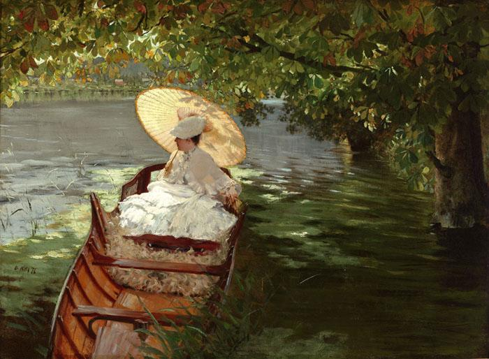 """Woman in a Canoe"" by Giuseppe DeNittis, 1876."