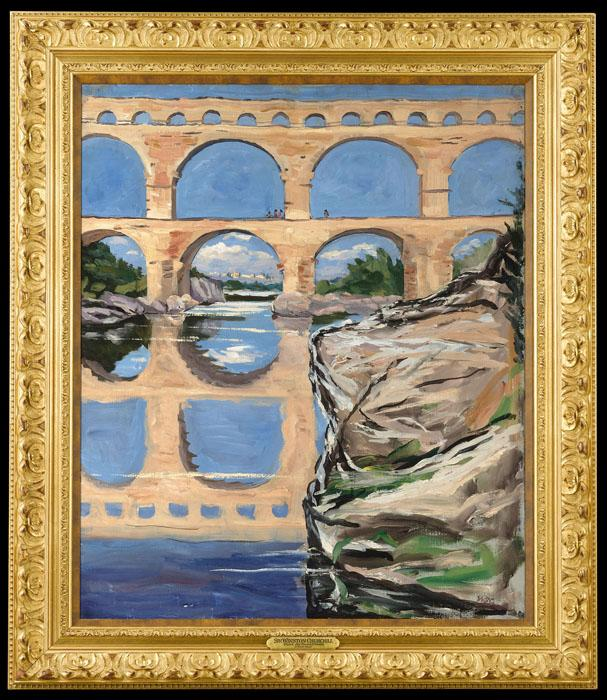 """Pont du Gard, Nimes"" by Sir Winston Churchill, circa 1930."