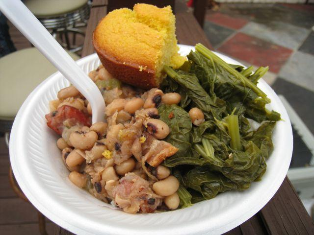 Blacked eyed peas and greens, a symbol in the South for luck and money in the new year.