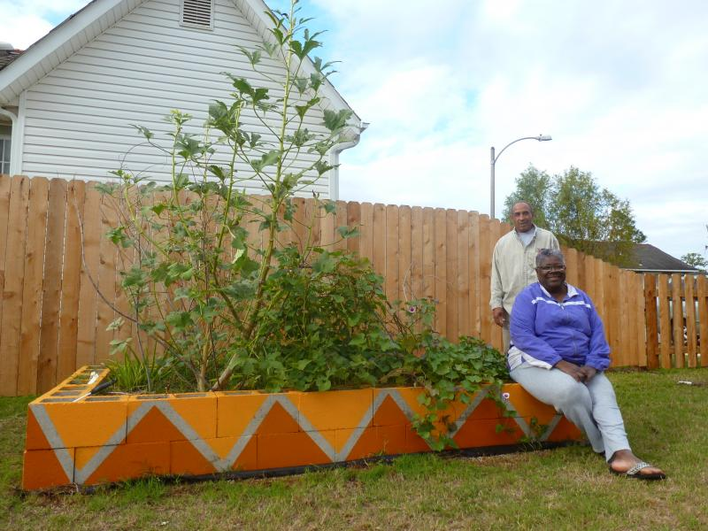 Linda and Chester Blunt built several raised vegetable beds on their new lot.
