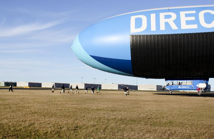 The DIRECTV blimp comes in for a landing at Lakefront Airport.