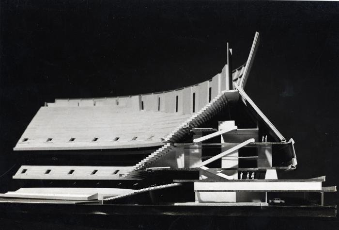 Frank Lotz Miller's 1970 architectural model of what would become the Superdome.