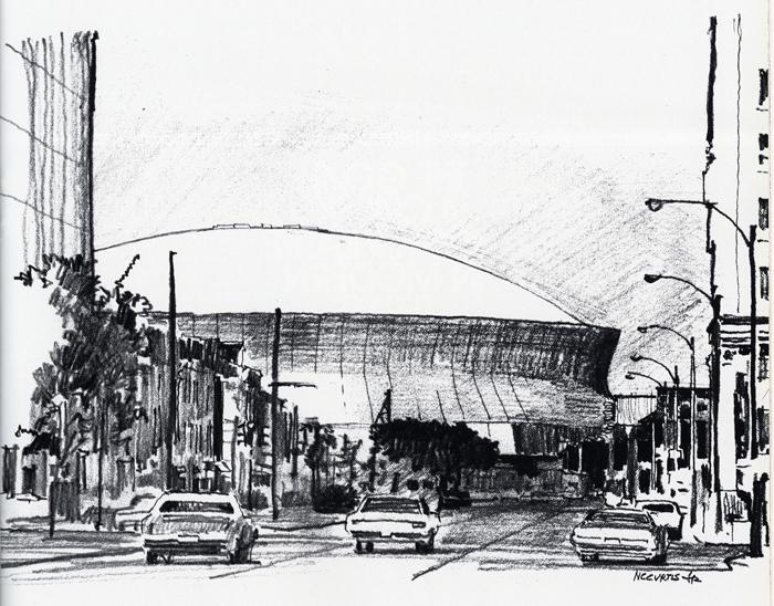Nathaniel C. Curtis, Jr.'s Superdome sketch, from 1975.