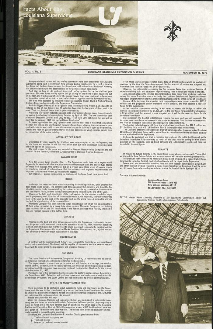 Facts About the Lousiana Superdome, from the Louisiana Superdome Newsletter, Nov. 15, 1973.