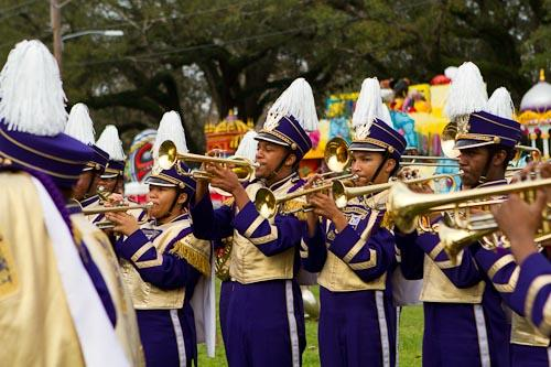 Justing Smothers is one of 17 trumpet players in Warren Easton's marching band.