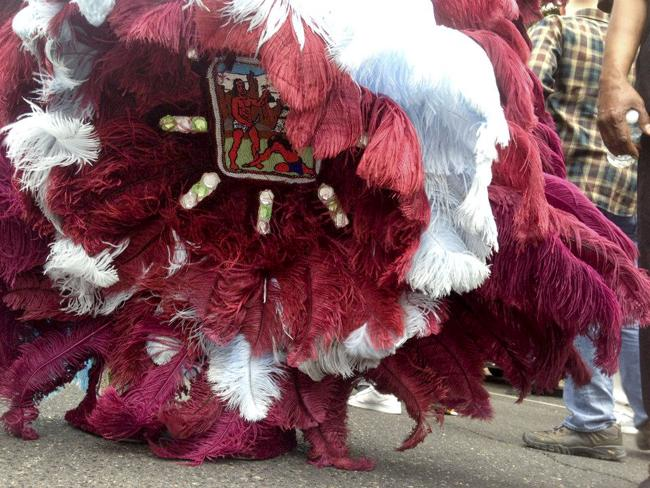The rear of a Mardi Gras Indian costume.