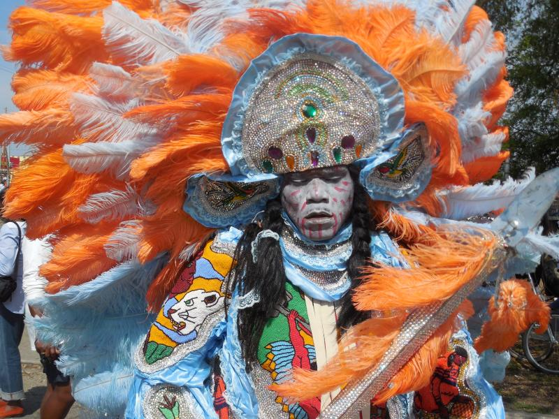 A Mardi Gras Indian on St. Joseph's Day.