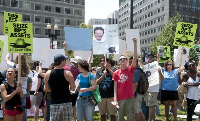Demonstrators protest the BP oil spill in Washington, DC on June 4, 2010.