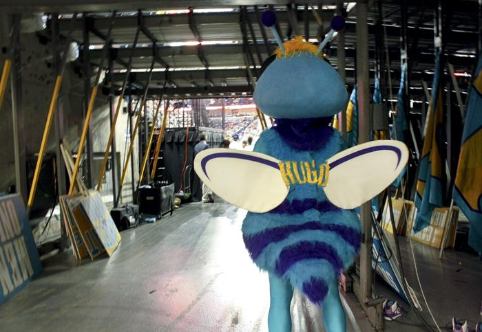 Hugo waits in the wings during the third quarter of Sunday's game.