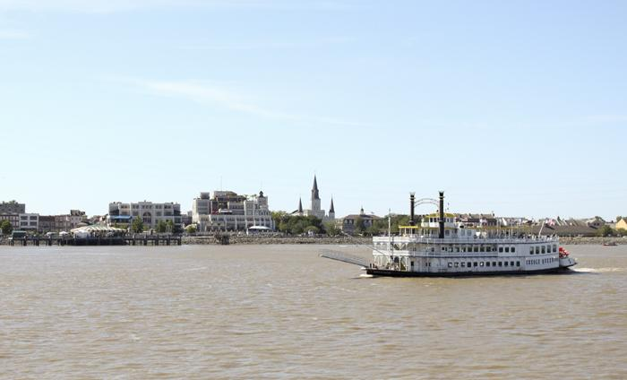 The 2013 French Quarter Festival from the river.