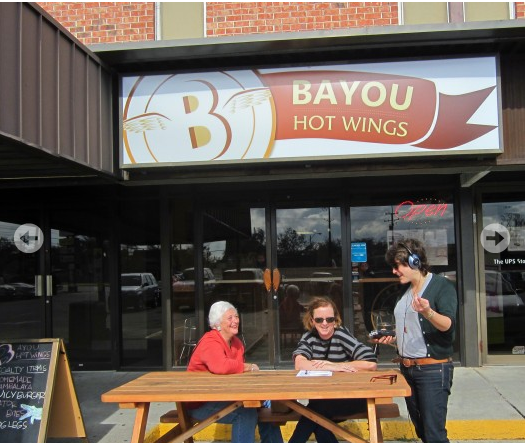 Sharon Litwin, Renee Peck and Laine Kaplan-Levenson outside Bayou Hot Wings on Claiborne Ave.