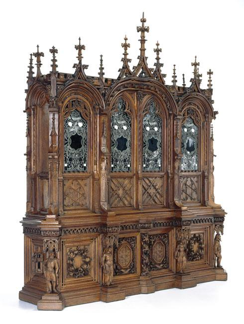 Gothic bookcase, by Gustave Herter and Ernst Plassmann.