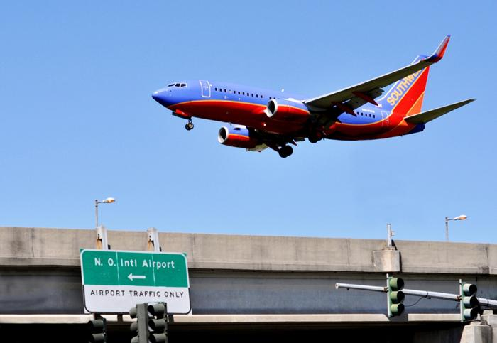 A Southwest jet on final approach into the Louis Armstrong International Airport earlier this year.