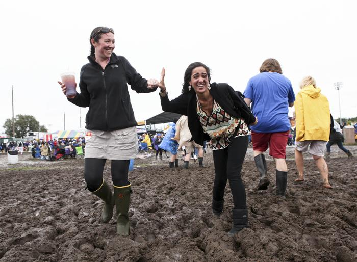 Mud couldn't get these ladies' spirits down.