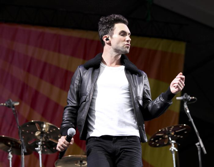 Adam Levine, lead singer of pop group Maroon 5, on the Acura Stage.