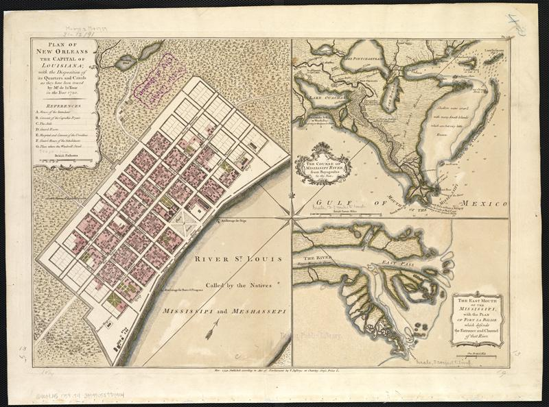 A plan of the city of New Orleans and the Mississippi delta, from 1759.