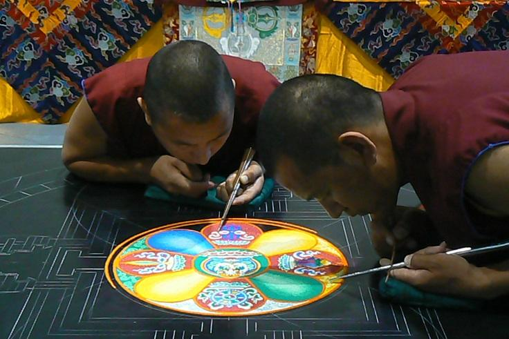 Common in Buddist and Hindu religious ceremonies, the mandala can be viewed as a microcosm of the universe.