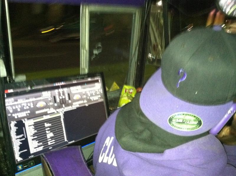 DJ Whatever's DJ system — easily accessible from the wheel (not to mention his Whatever hat).