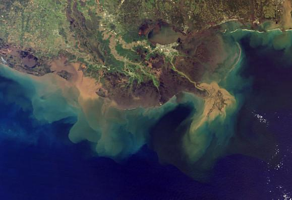 This image from spring 2001 shows the plume of sediment pouring from the Mississippi River into the Gulf of Mexico.