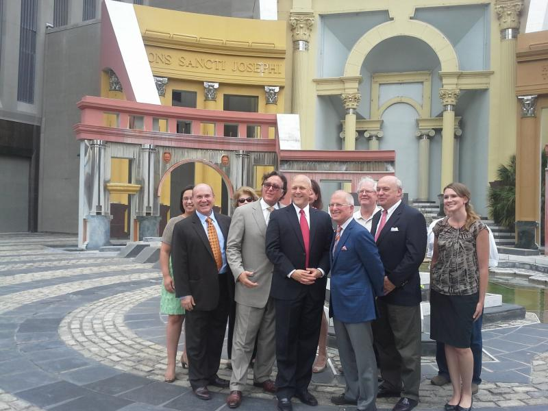 New Orleans Mayor Mitch Landrieu and the Canal Street Development Corporation meet at the Piazza d'Italia to announce renovation plans.