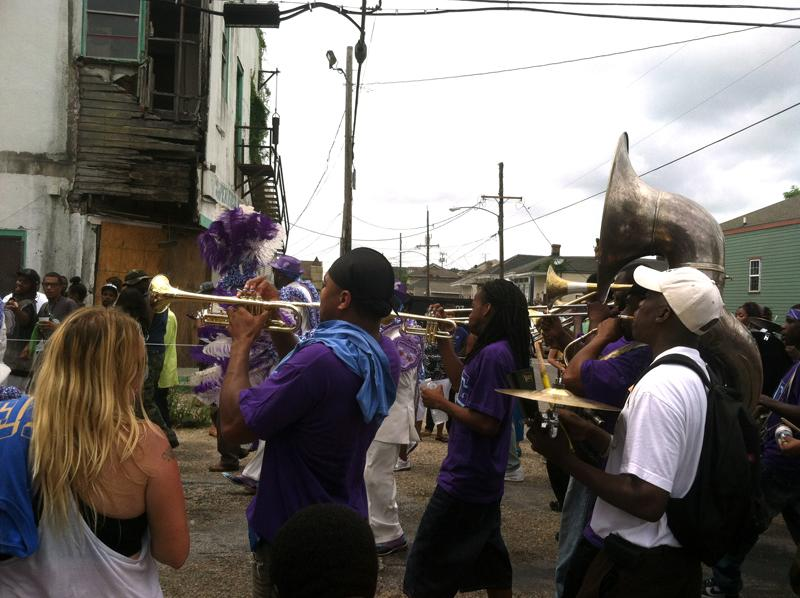 The TBC Brass Band performing during a second-line parade this past weekend.