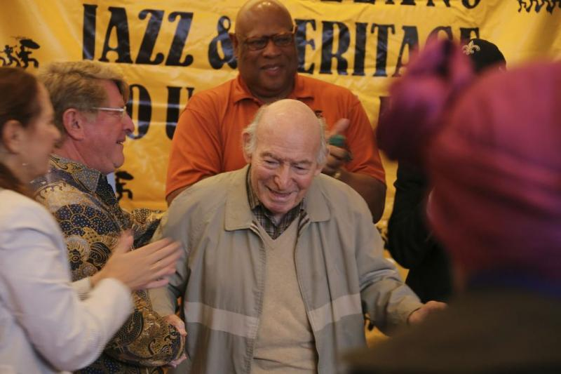 George Wein, jazz musician and festival creator, at a ceremony to dedicate the George and Joyce Wein Jazz Heritage Center