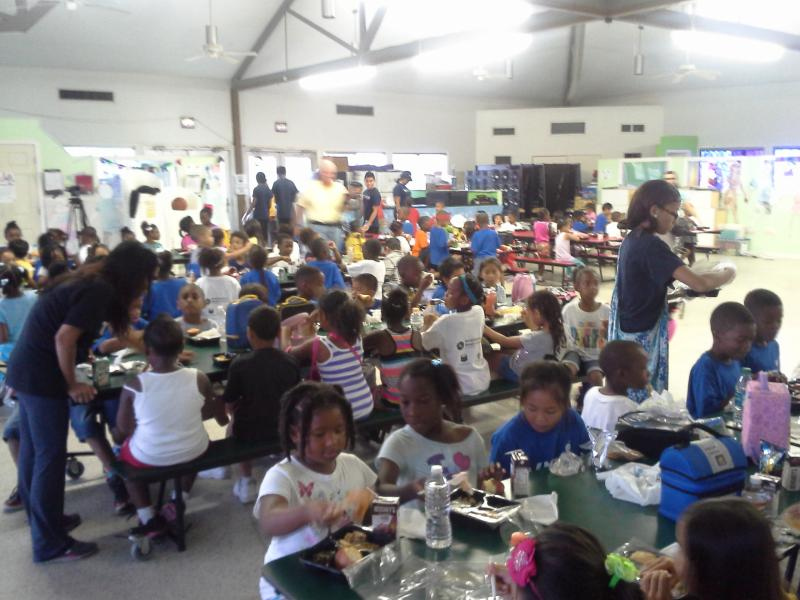 Children at lunch break at the VIET Center summer camp in New Orleans East.