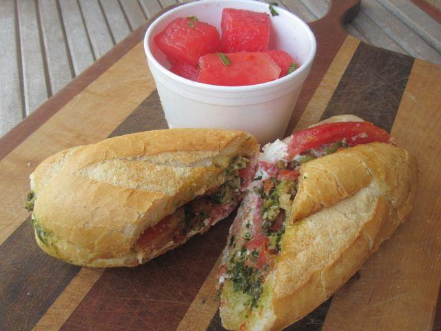 A vegetarian Caprese salad-style po-boy from Killer Poboys.
