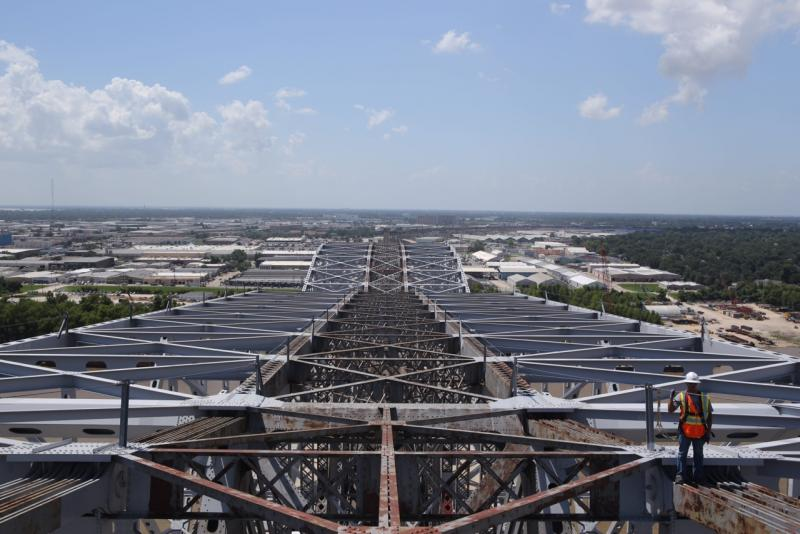 View from the top of the newly expanded bridge. The gray steel is the expansion.