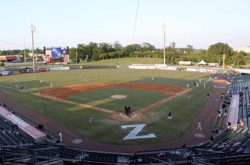 The players and umpires take the field as the New Orleans Zephyrs prepared to take on the Salt Lake Bees.