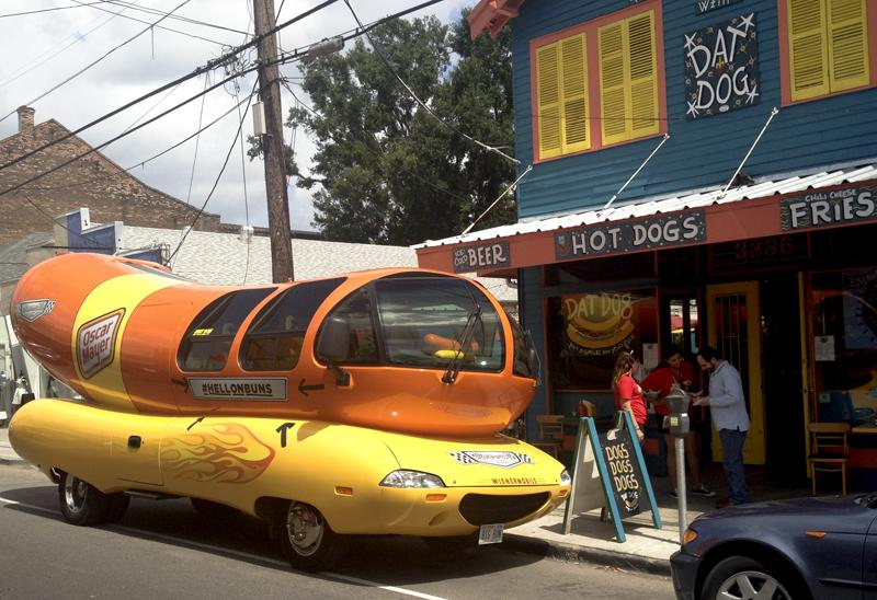 The Oscar Mayer Wienermobile, parked outside of Dat Dog on Magazine St. Tuesday.