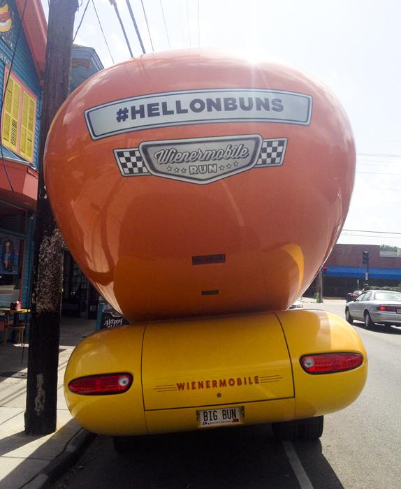 "All six Wienermobiles are on a cross-country ""road rally"" this summer. Fans of the iconic rolling hot dog can particpate on the Wienermobile's web site."
