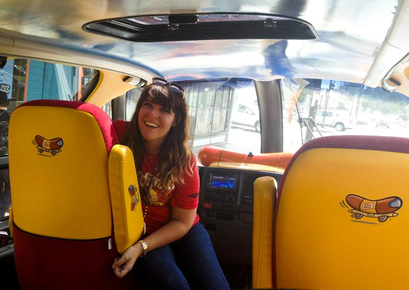 "Wienermobile driver Kacee Robbins. ""There are always blue skies in the Wienermobile,"" Robbins says."