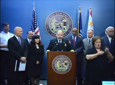 A screen capture of Timothy A. McConnell during the press conference annoucing his appointment as Superintendent of the New Orleans Fire Department.