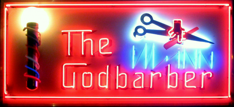 The Godbarber, one of five businesses to receive a new neon sign through the Iconic Signage Project.