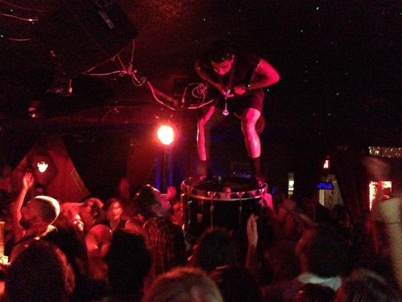 Norlan crowdsurfing ON his bass drum!