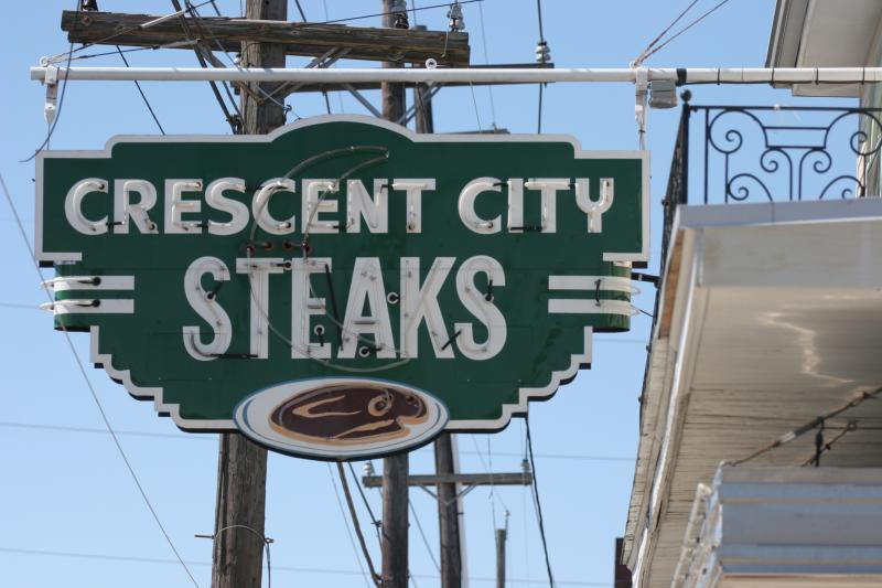 The Crescent City Steaks sign, the inspiration for the Iconic Signage Project.