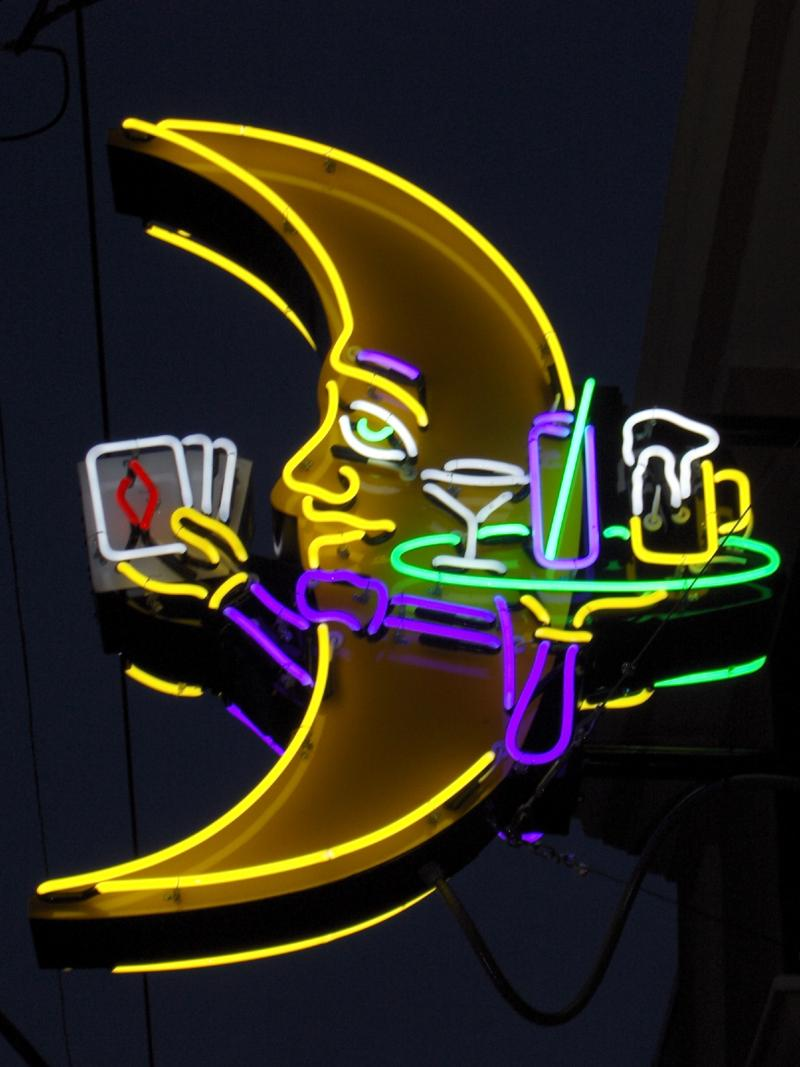 Crescent School of Gaming and Bartending's new neon sign.