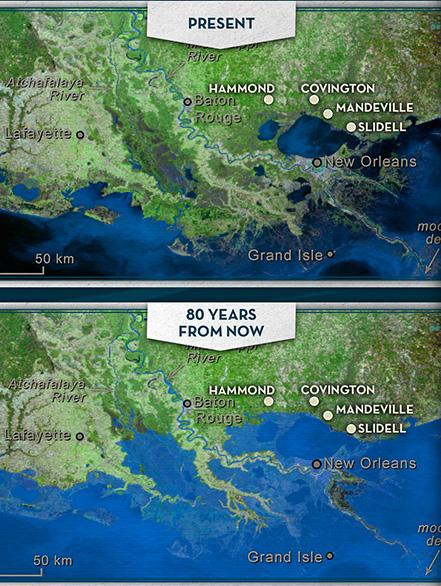 A map detailing the effects of climate change and sinking land on the Louisiana coast over the next 80 years.