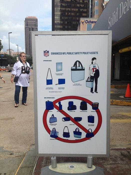 Signs of the times: Appropriate and inappropriate bags, according to new NFL security guidelines.