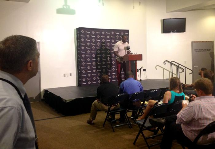 New Orleans Saints tight end Benjamin Watson during the team's post game press conference.