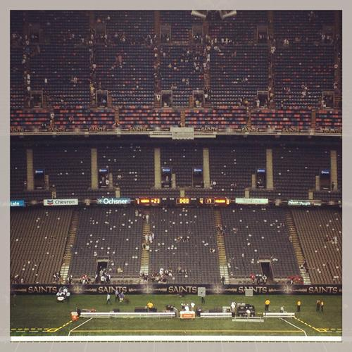 Hundreds of newspapers dot the seats after the Saints beat the Atlanta Falcons, 23-17. Each seat in the Superdome had a special edition of the Advocate placed on it before the game.