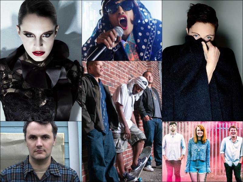 Clockwise from upper left: Anna Calvi, M.I.A., Poliça, members of Los Campesinos!, Deltron 3030 and Phil Elverum of Mount Eerie.
