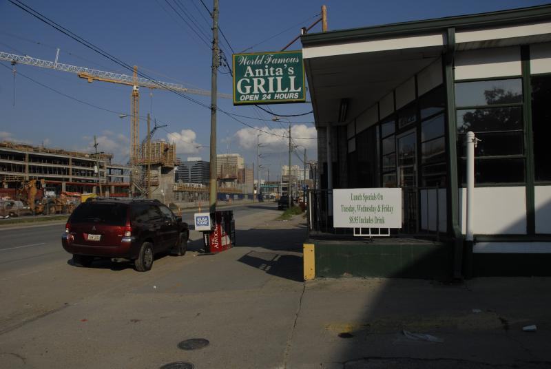 Anita's Grill, amidst the construction of two hospitals on Tulane Avenue.