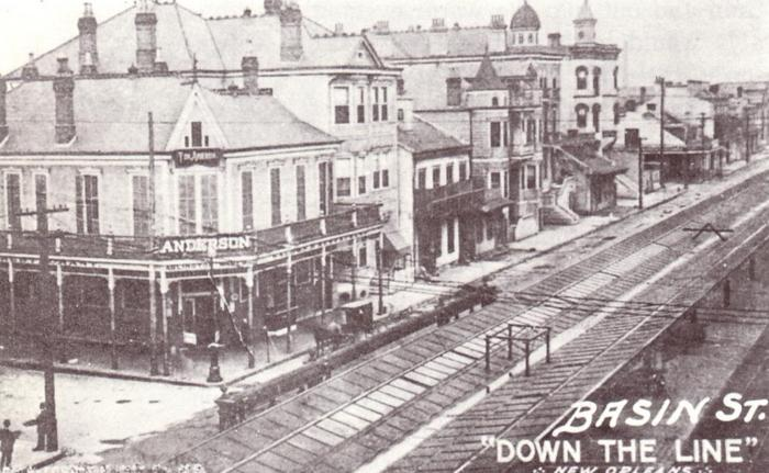 """Down the Line"", a postcard showing Basin Street in 1908. The rail lines transported visitors into the heart of The District."