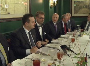 Serbian Prime Minister Ivica Dacic (far left) and New Orleans Mayor Mitch Landrieu (center).